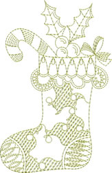 Redwork Christmas Stocking embroidery design