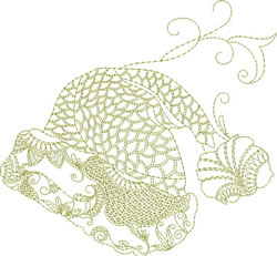 Redwork Christmas Hat embroidery design