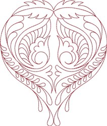 Hearts Swirls embroidery design