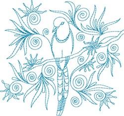 Bird In Swirls embroidery design