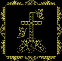 Cross And Butterflies embroidery design