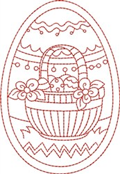 Redwork Easter Basket embroidery design