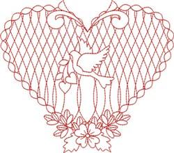 Redwork Dove Heart embroidery design