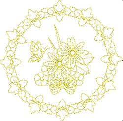 Floral Butterfly Circle embroidery design
