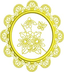 Floral Butterfly Frame embroidery design