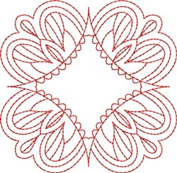Redwork Floral Block embroidery design