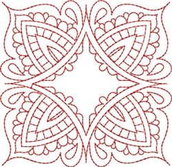 Redwork Floral Block embroidery design