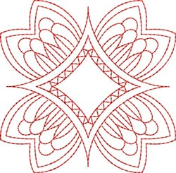 Redwork Flower Block embroidery design