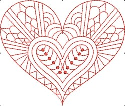 Redwork Hearts embroidery design