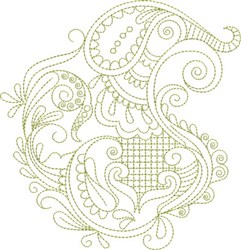 Swirly Paisley Flowers embroidery design