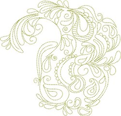 Paisley Floral Drop embroidery design