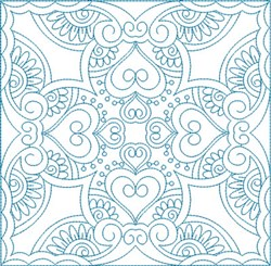 Swirly Hearts Square embroidery design