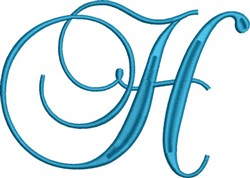 Heirloom Swirly Monogram H embroidery design