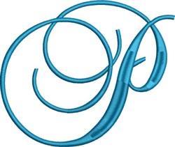 Heirloom Swirly Monogram P embroidery design