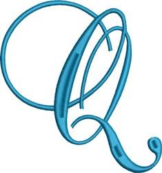Heirloom Swirly Monogram Q embroidery design