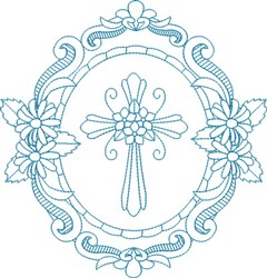 Religious Cross Wreath embroidery design