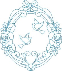 Religious Doves Wreath embroidery design