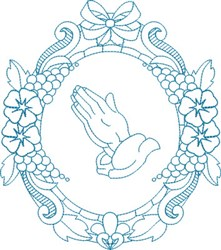 Praying Hands Wreath embroidery design