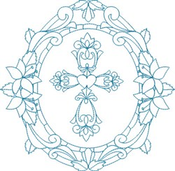 Religious Cross Frame embroidery design