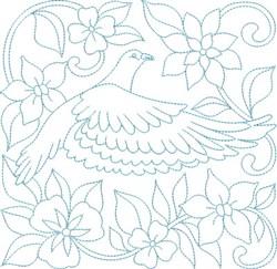 Bird & Flowers Block embroidery design