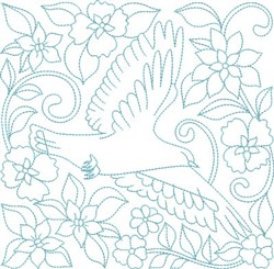 Flowers & Bird Block embroidery design