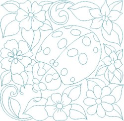Ladybug & Flowers Block embroidery design