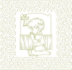 Religious Boy Praying embroidery design