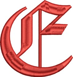 Grand English Monogram E embroidery design