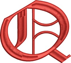 Grand English Monogram Q embroidery design