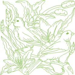 Garden Birds Block embroidery design