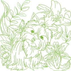 Garden Dog Block embroidery design