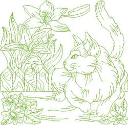 Garden Cat Block embroidery design