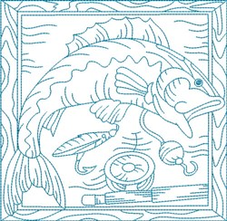 Bluework Fish Block embroidery design