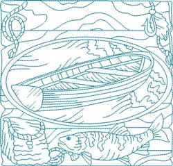 Bluework Fishing Boat embroidery design