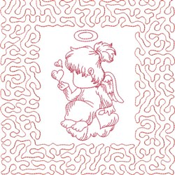 Redwork Angel Block embroidery design