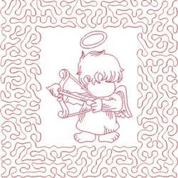 Redwork Angel & Bow embroidery design