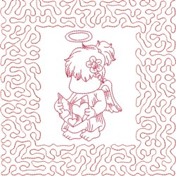 Redwork Angel Reading embroidery design