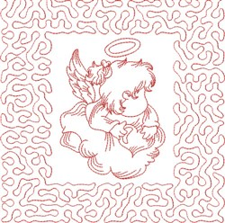 Redwork Angel & Heart embroidery design