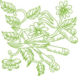Garden Tools Block embroidery design