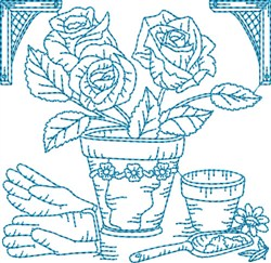 Garden Flowers Block embroidery design