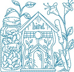 Garden Birdhouse Block embroidery design