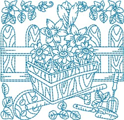 Garden Wheelbarrow Block embroidery design