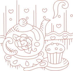Redwork Teapot & Cupcake embroidery design