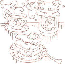 Redwork Teapot & Cake embroidery design