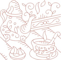 Redwork Teapot & Cup embroidery design