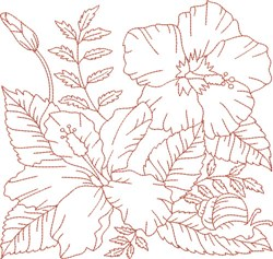Redwork Snail & Flowers embroidery design