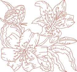 Redwork Butterfly & Flowers embroidery design