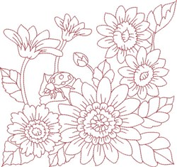 Redwork Ladybug & Flowers embroidery design