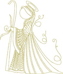 Elegant Angel Quilt Block/Tea Towel embroidery design