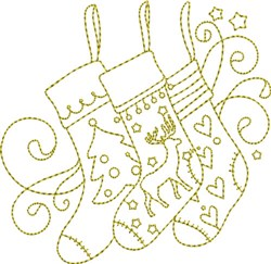 Christmas Time Stockings embroidery design